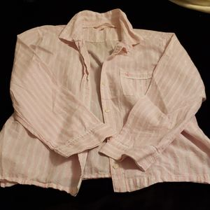 Victoria's secret pink pinstriped button down Med.